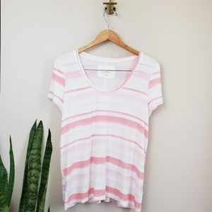Anthro puew + good casual striped t pink white L